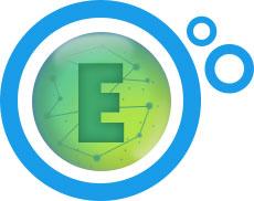 litera E na zielonym tle w niebieskim kółku