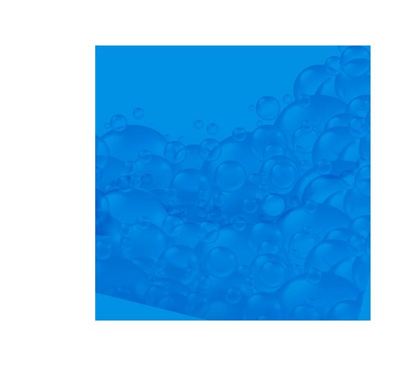 niebieskie koło z bąbelkami w środku