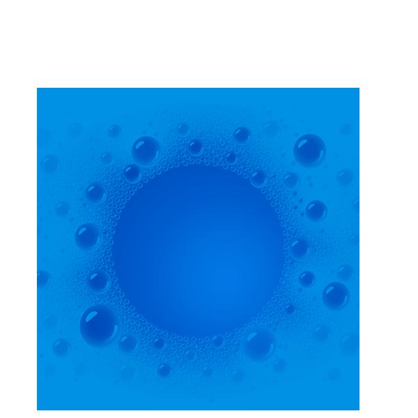 niebieskie koło z pianą w środku